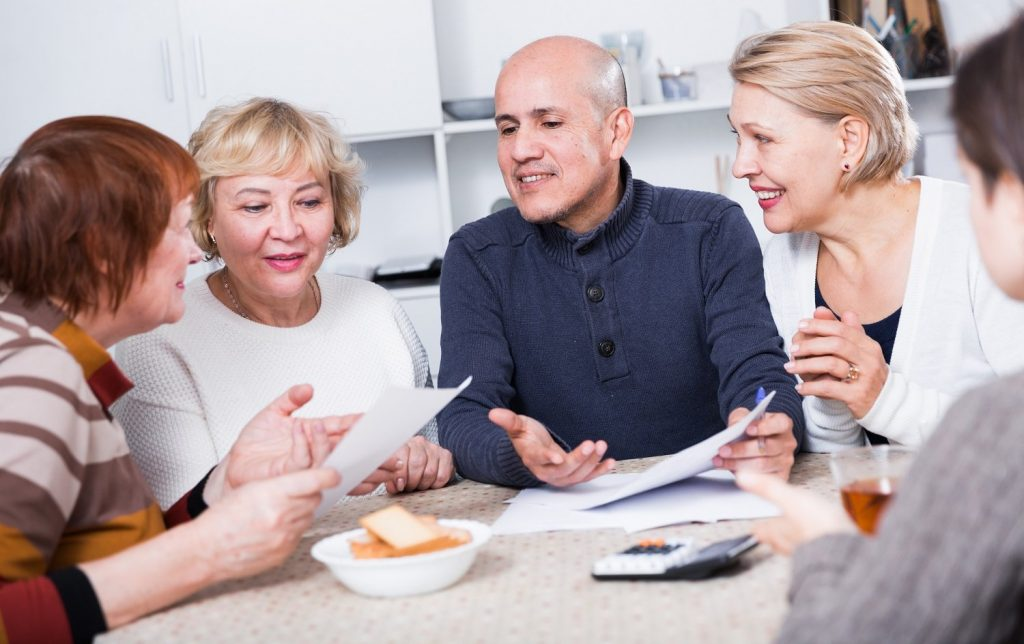 Family discussing Wills and estate planning